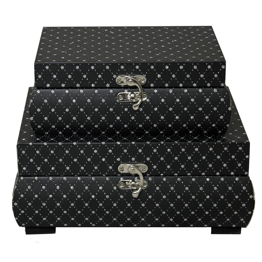 McKenna Jewel Keepsake 2-Piece Decorative Boxes - Black