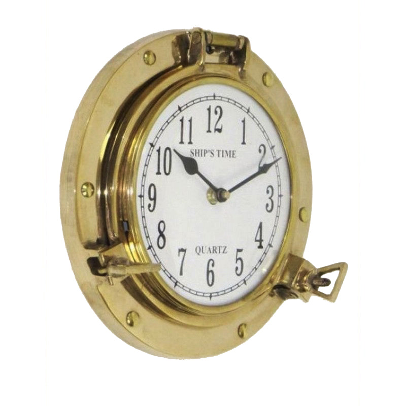 Urban Designs Aged Brass Porthole Wall Clock - Gold