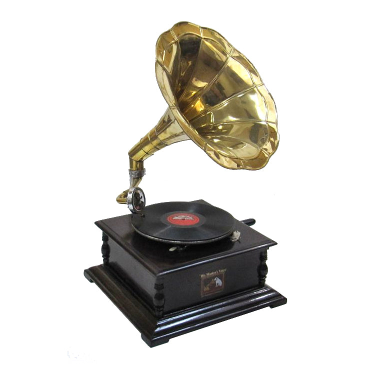 Antique Replica Phonograph Gramophone - Brass Horn