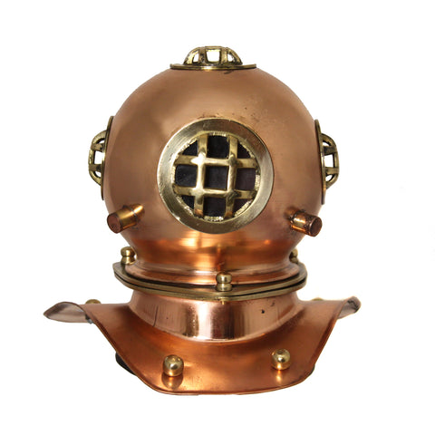 "Urban Designs Miniature Table Top Replica 7.5"" U.S. Navy Mark-V Copper Diving Helmet"