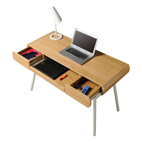 Modern Design Semi-Assembled Minimal Contemporary Computer Desk - Pine