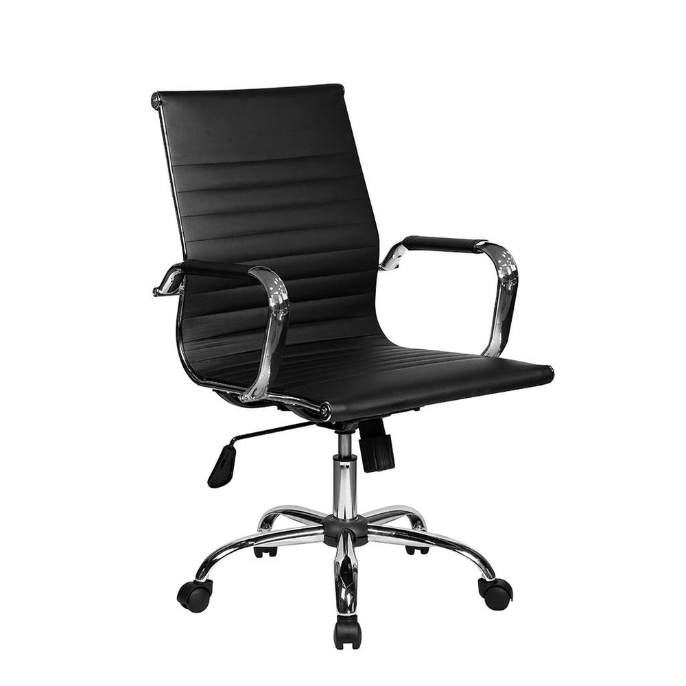 Office Express Adjustable Task Chrome Office Chair - Black