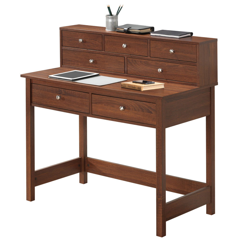 Office Express Home Office Writing Desk with Shelf - Brown
