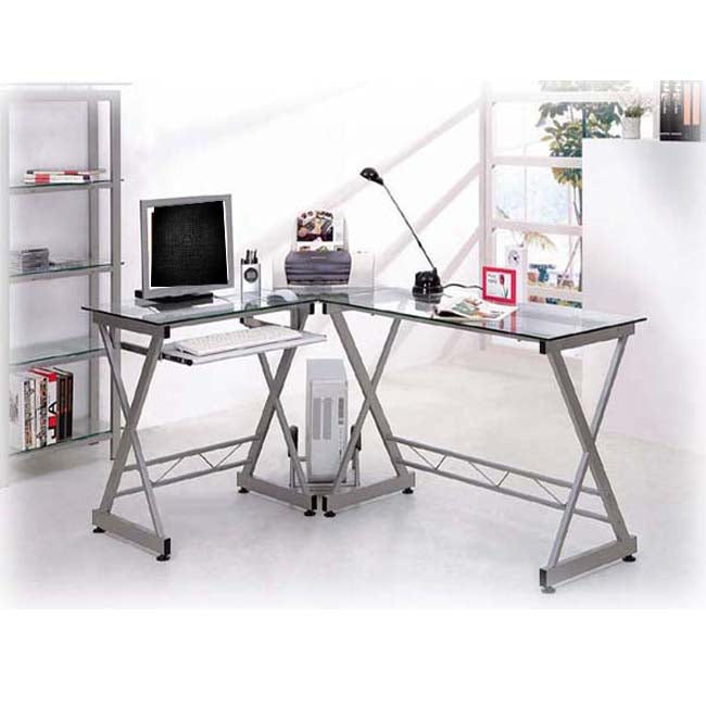 Deluxe Ergonomic L-Shaped Computer Desk Workstation - Clear Tempered Glass