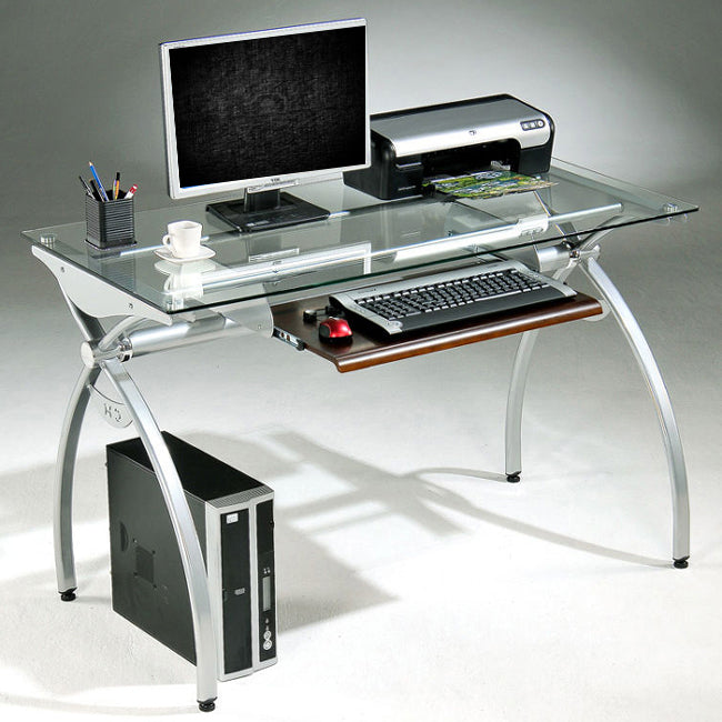 Techni Mobili Ergonomic Curved Steel Frame Computer Desk with Tempered Glass Top