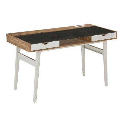 Modern Designs Compact Computer Desk with Storage Drawers - Walnut