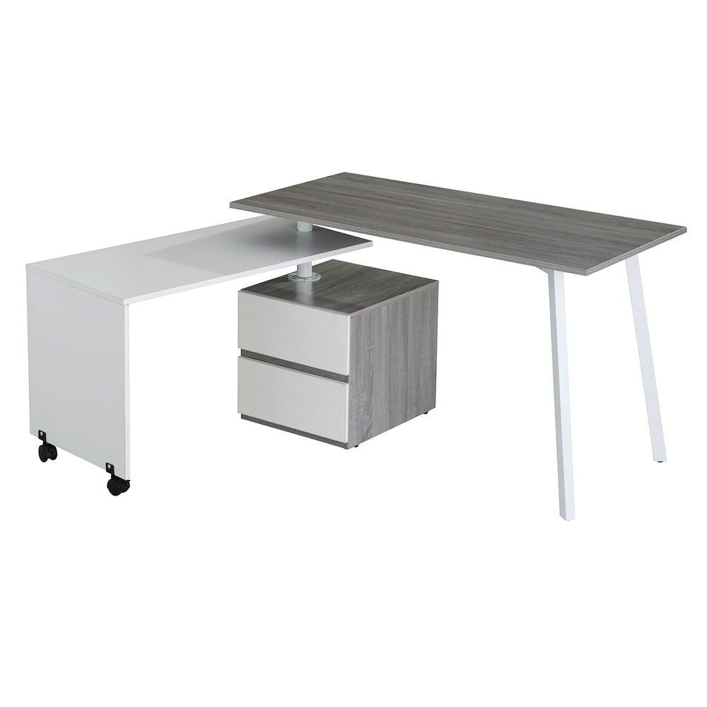 Modern Designs Rotating Multi-Positional Computer Desk With Storage - Grey