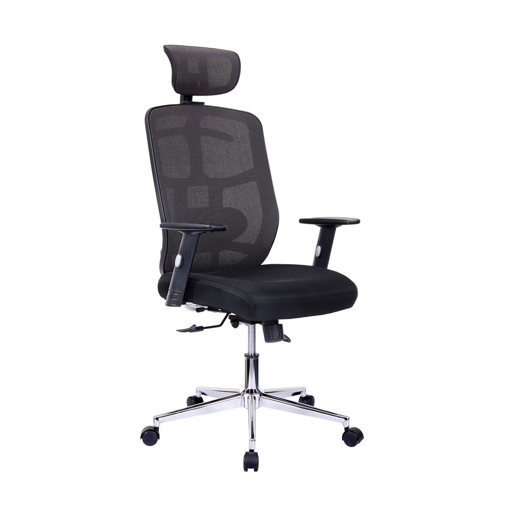 Urban Designs Chrome Base High-Back Lumbar Support Mesh Office Chair - Black