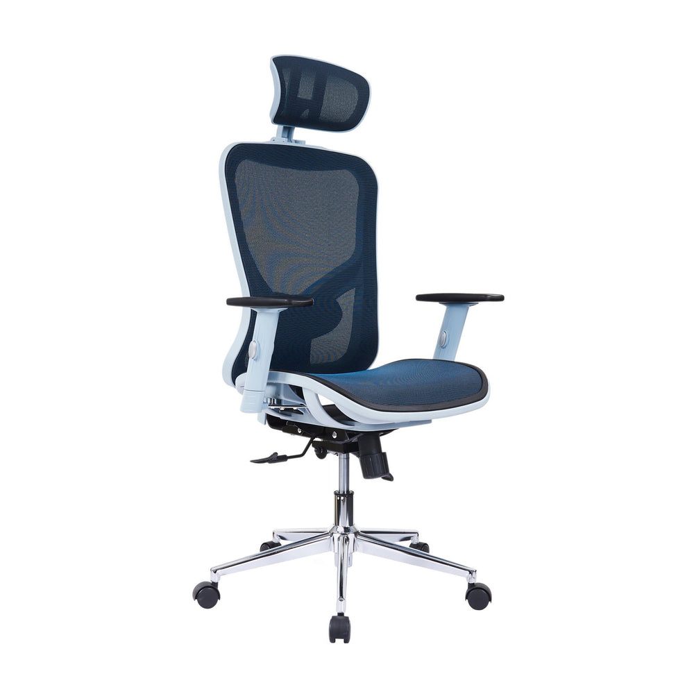 Urban Designs High-Back Headrest Lumbar Support Mesh Office Chair - Blue