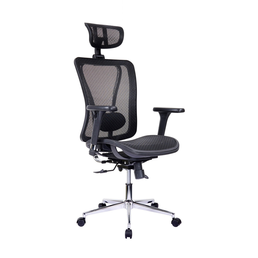 Urban Designs High-Back Lumbar Support Mesh Office Chair With Headrest - Black