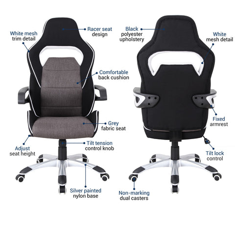 Urban Designs Ergonomic Upholstered Racing Style Home Office Chair - Grey Black