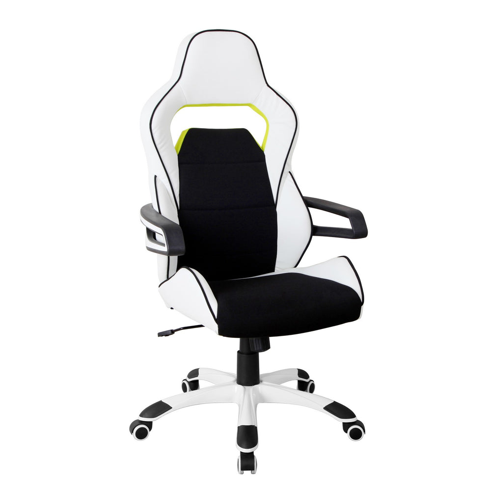 Urban Designs Ergonomic Upholstered Racing Style Home Office Chair - White Black
