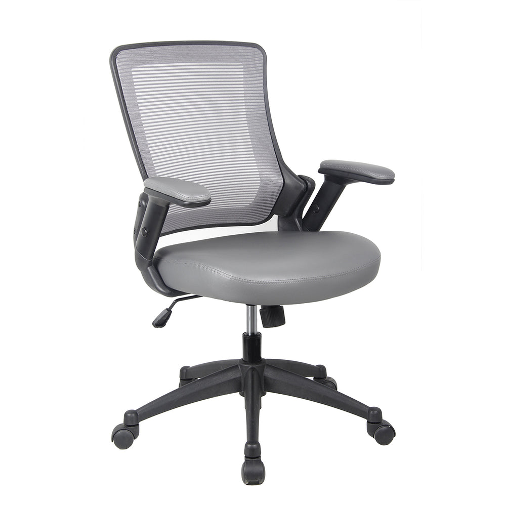 Techni Mobili Mid-Back Mesh Task Office Chair with Height Adjustable Arms - Gray