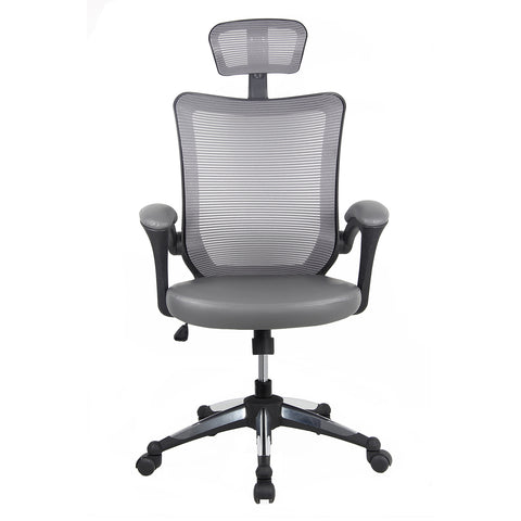 Techni Mobili High-Back Mesh Executive Office Chair With Headrest - Gray