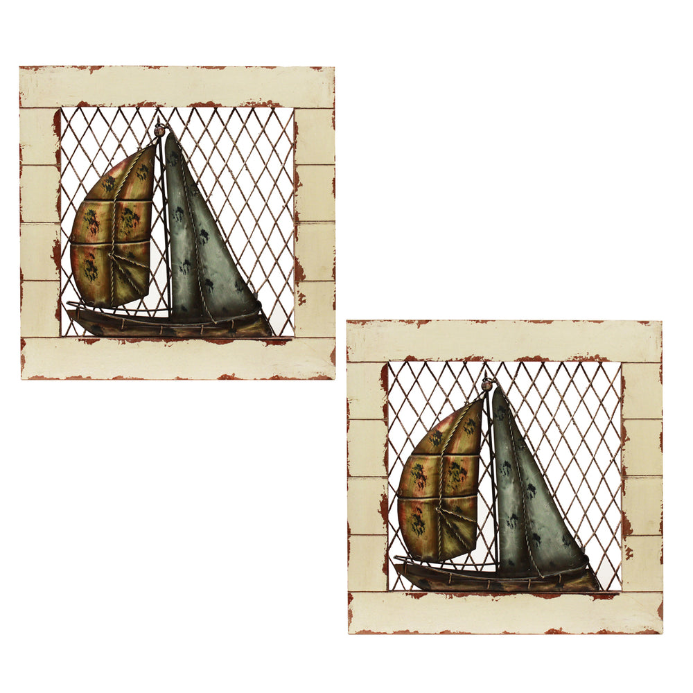 Urban Designs Handcrafted 2-Piece Set Artisan Wooden Wall Art - Sail Boat