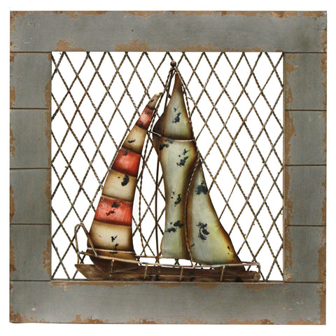 Urban Designs Handcrafted 2-Piece Set Artisan Wooden Wall Art - Nautical Boats