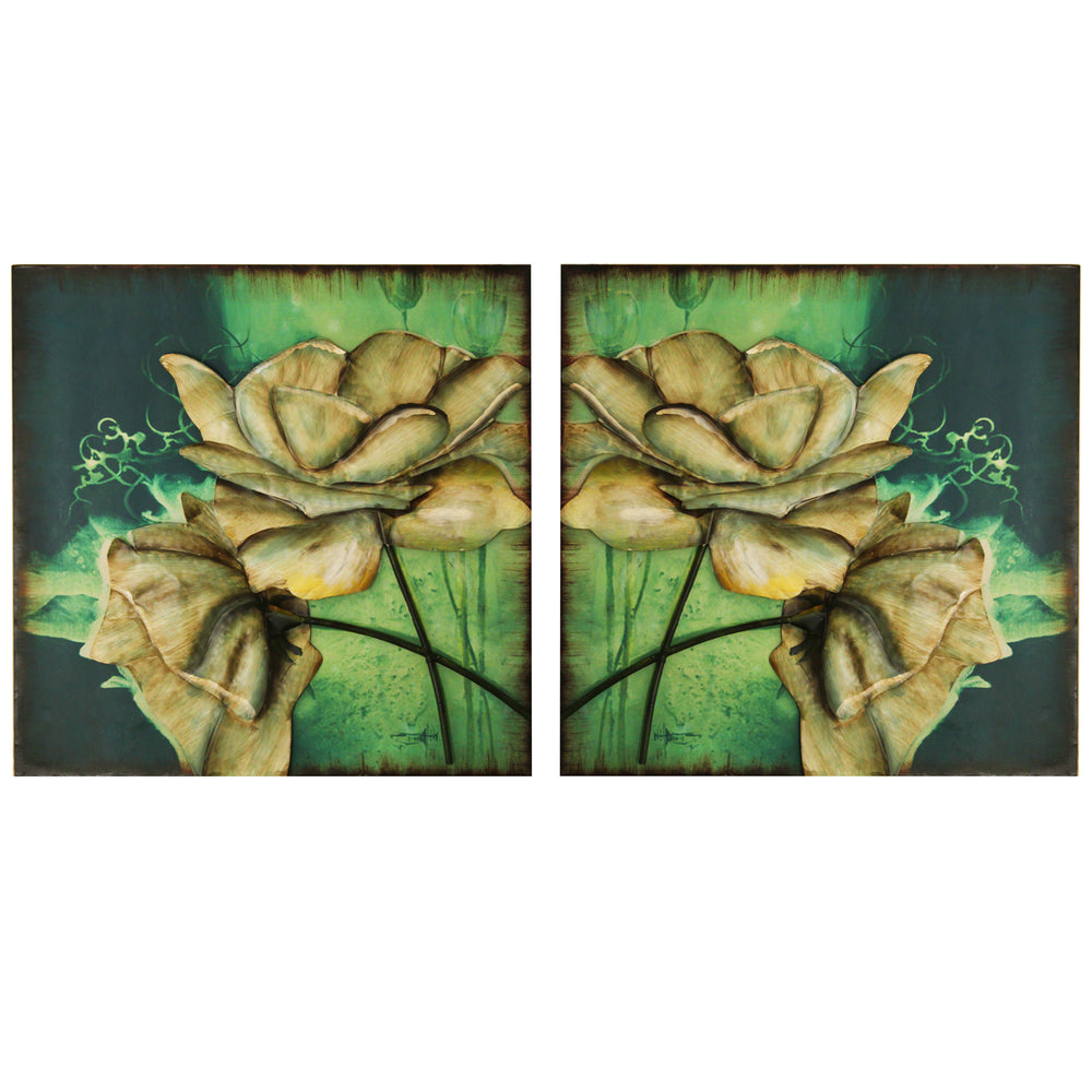 Urban Designs Handcrafted 2-Piece Set Artisan Wall Art - Aurora Flowers