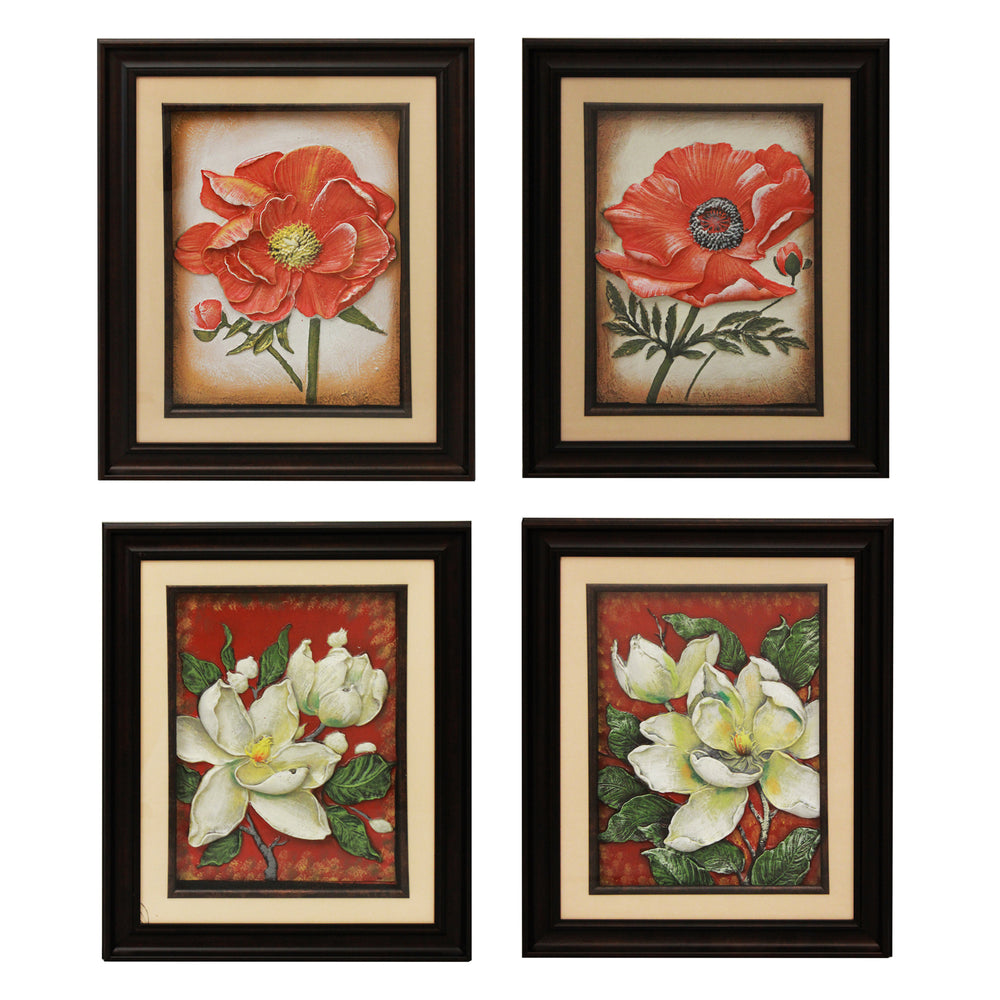 Urban Designs Handcrafted 4-Piece Set Artisan Metal Wall Art - Poppy & Magnolia