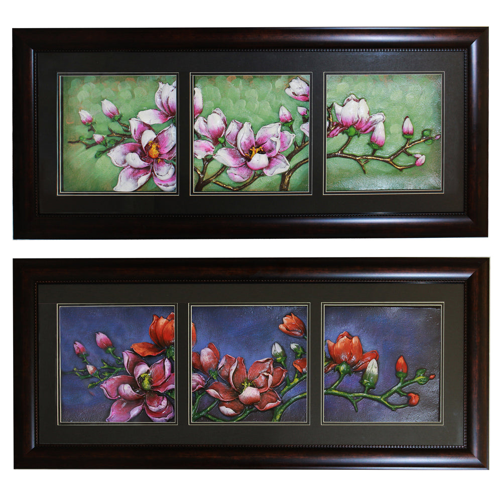 Urban Designs 2-Piece Set Artisan Wall Art - Morning Midnight Flowers