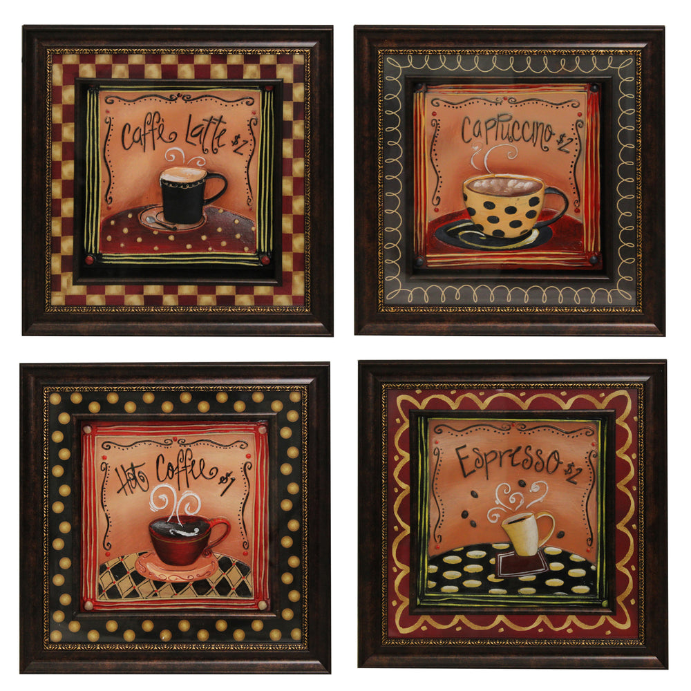 Urban Designs 4-Piece Set Artisan Metal Wall Art - Barista Coffee House