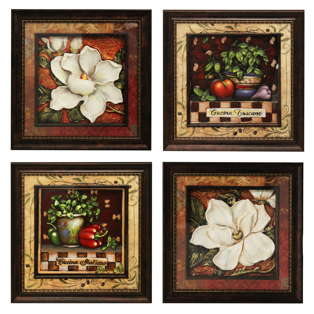 Urban Designs Handcrafted 4-Piece Set Artisan Metal Wall Art - Tuscan Kitchen