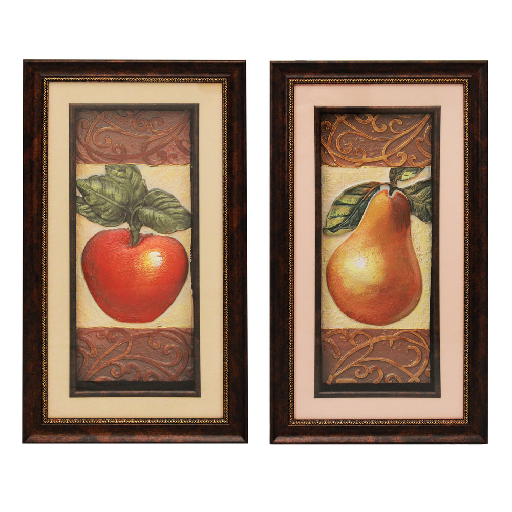 Urban Designs Handcrafted 2-Piece 3-D Set Artisan Metal Wall Art - Apple & Pear