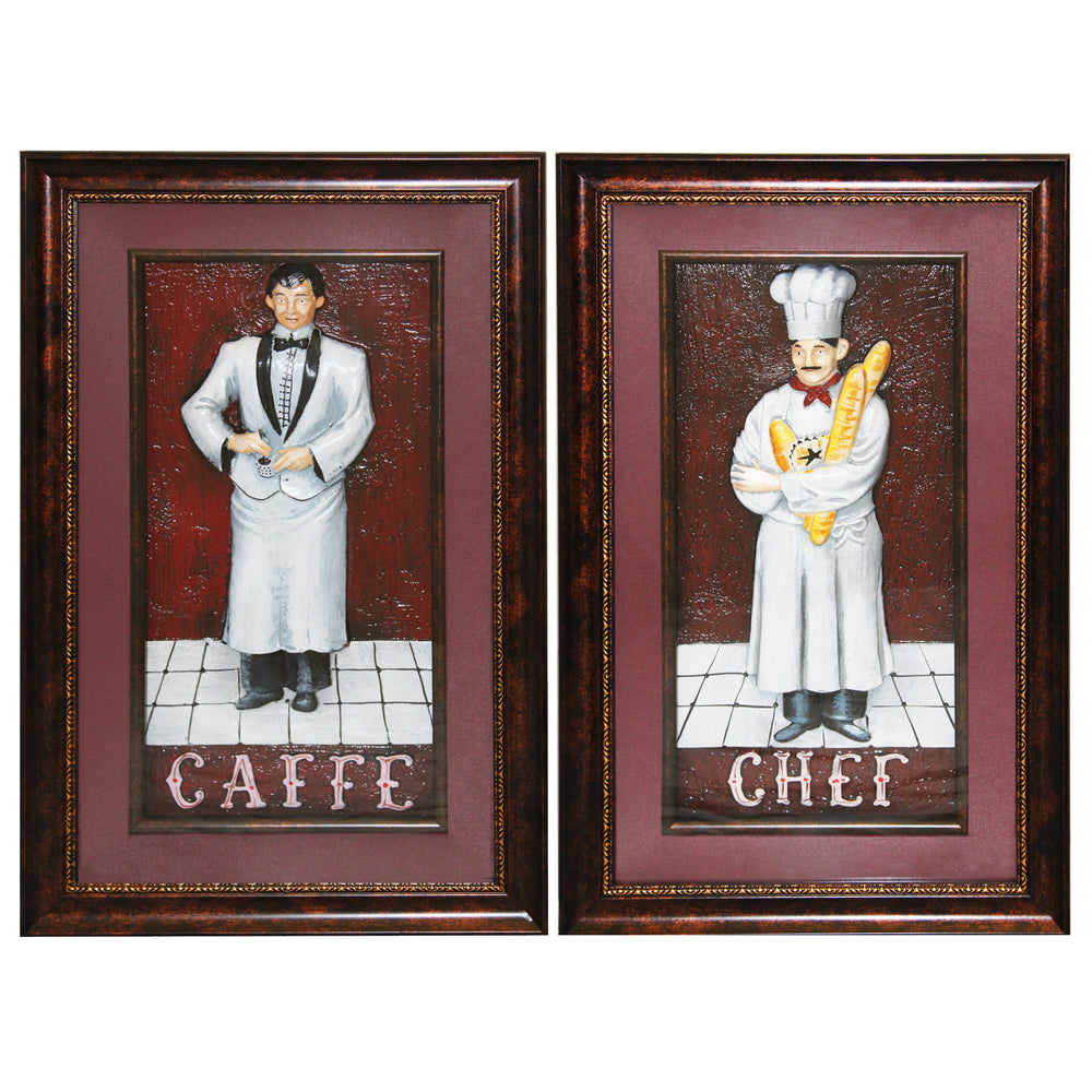 Urban Designs Handcrafted 2-Piece 3-D Set Artisan Metal Wall Art - The Resturant