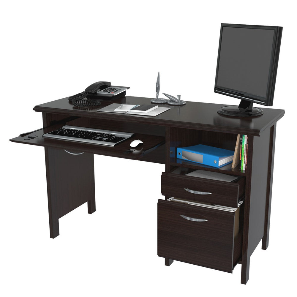 Inval Imported Wooden Computer Desk with Dual Storage Drawers - Espresso