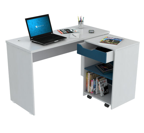 Inval Desk with Swing Out Storage - Laricina Mediterranean Blue