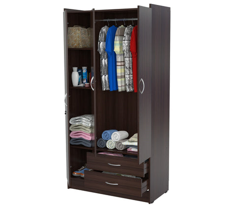 "Inval America Imported Wooden 72"" 3-Door Bedroom Armoire - Espresso"