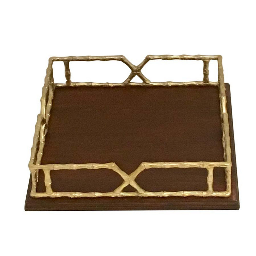 Urban Designs 15.5-Inch Wood Tray With Gold Metal Handles