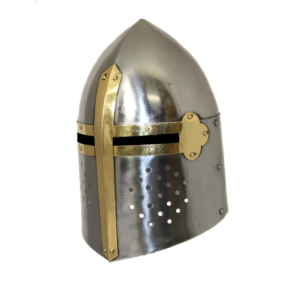 Urban Designs Antique Replica Medieval Sugarloaf Armor Helmet - Silver and Gold