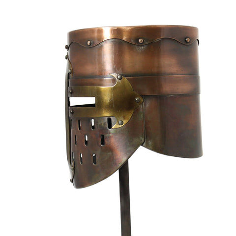 Urban Designs Antique Replica Medieval Armor Pot Helmet - Copper