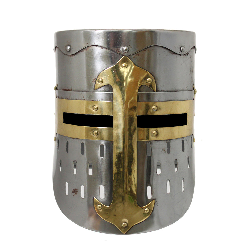 Urban Designs Antique Replica Medieval Armor Pot Helmet - Rusted Silver & Gold