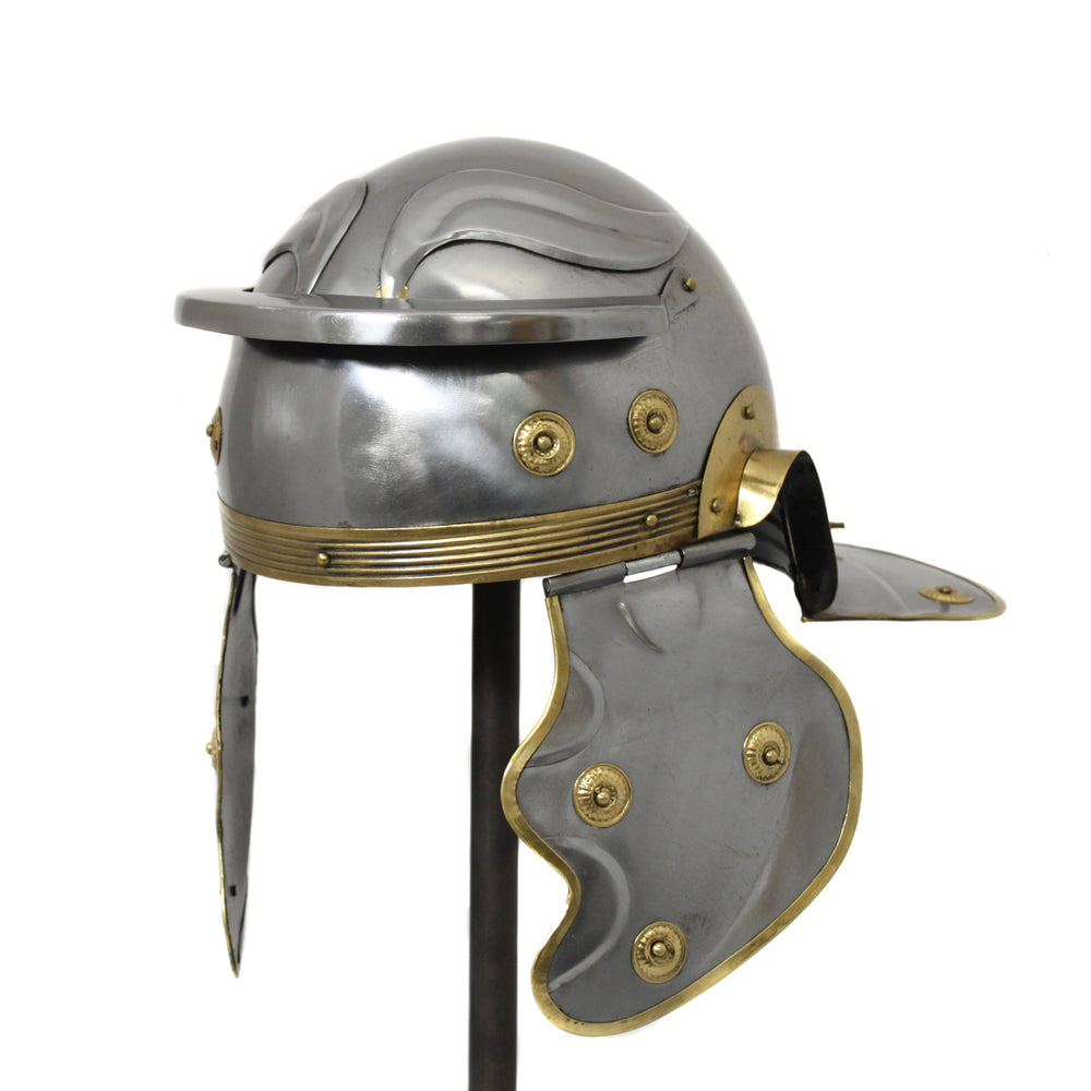 Urban Designs Antique Replica Roman Centurion Imperial Gallic Galea Helmet - Silver & Gold