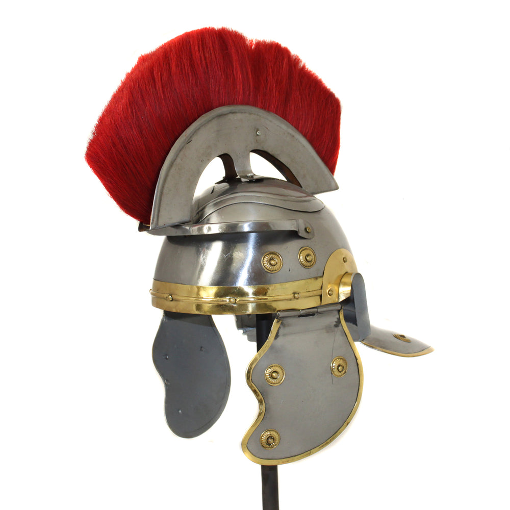 Urban Designs Antique Replica Roman Centurion Red Plume Galea Helmet - Silver & Gold