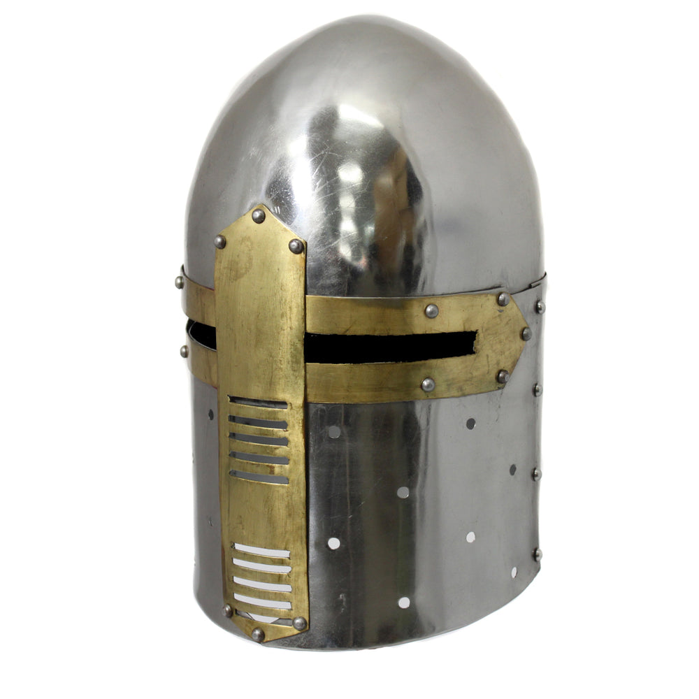 Urban Designs Antique Replica Medieval Knight Sugarloaf Armor Helmet - Silver and Brass