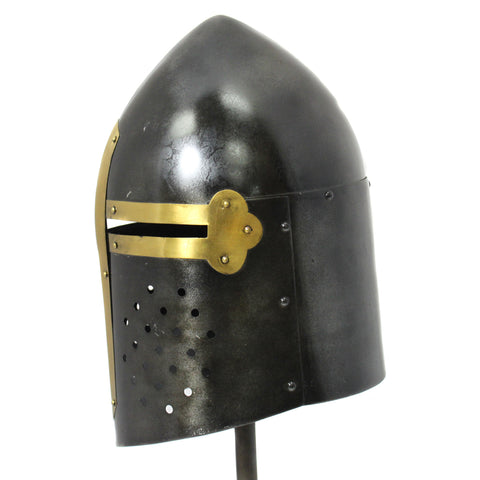 Urban Designs Antique Replica Medieval Sugarloaf Armor Helmet - Black and Gold