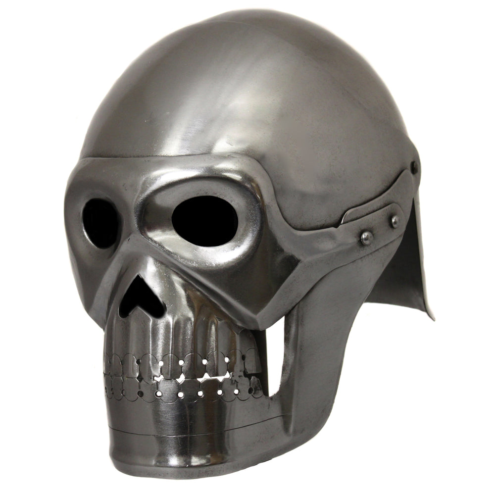 Handcrafted Fantasy Ghost Pirate Skeleton Battle Armor Helmet - Silver