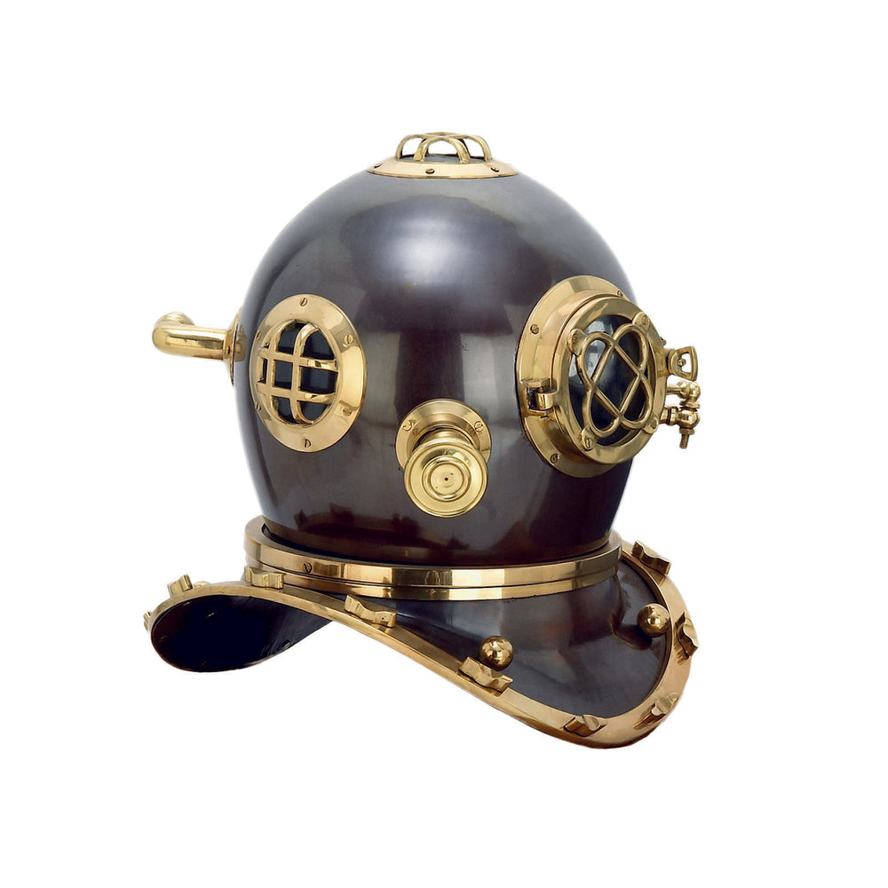 EcWorld Enterprises 7728215 Full Size Antique Reproduction U.S. Navy Mark V Brass Diving Helmet