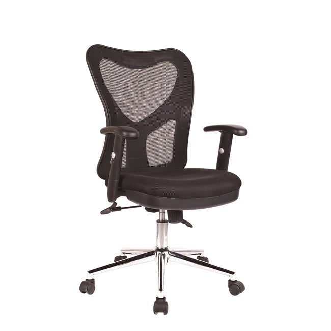 Techni Mobili Adjustable Executive Mesh Office Chair with Arms - Black