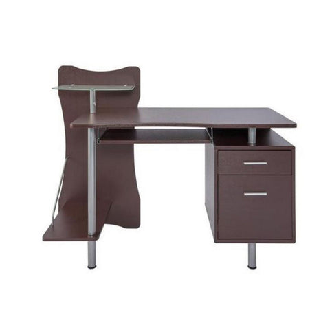 Deluxe Stylish Ergonomic Computer Desk with Two Drawer - Chocolate