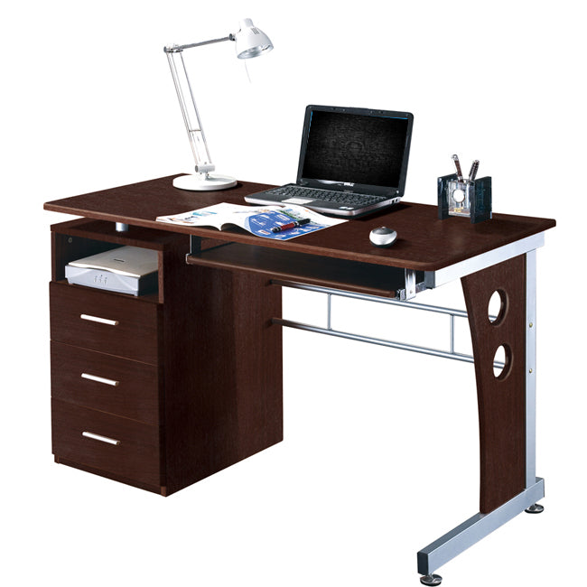 Deluxe Ergonomic Side Cabinet Compact Multifunction Computer Desk - Chocolate