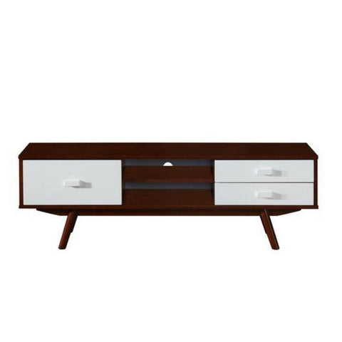 Urban Designs Retro Wood Veneer 65 TV stand with Storage - Walnut