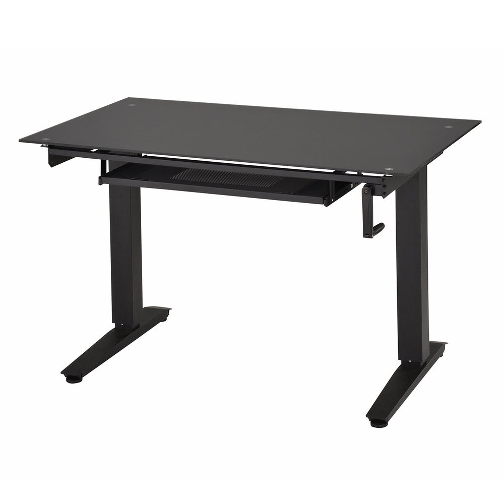 Deluxe Stylish Tempered Glass Top Height Adjustable Computer Desk