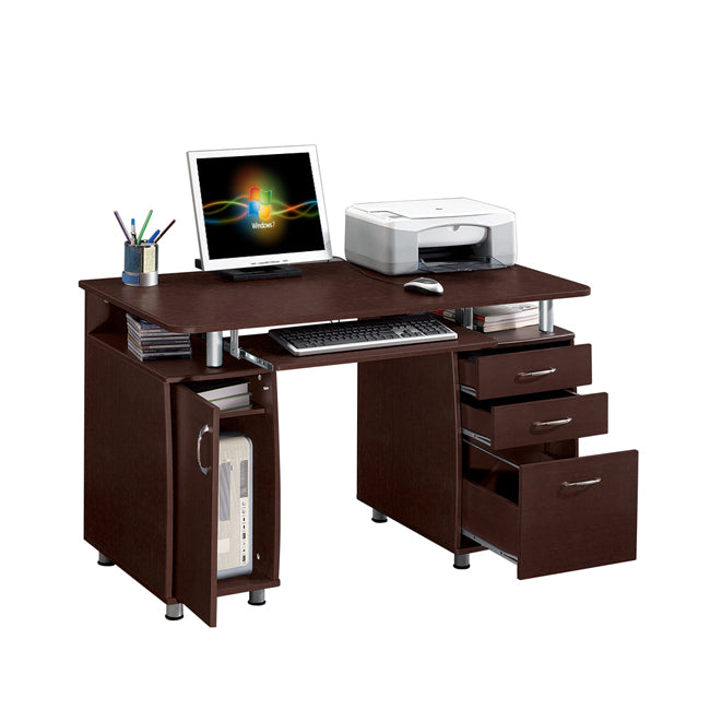 Deluxe Ergonomic All-In-One Super Storage Multi-Drawer Computer Desk - Chocolate