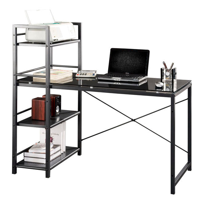 Contemporary Glass Top Computer Desk with 4-Shelf Bookcase - Black & Gray