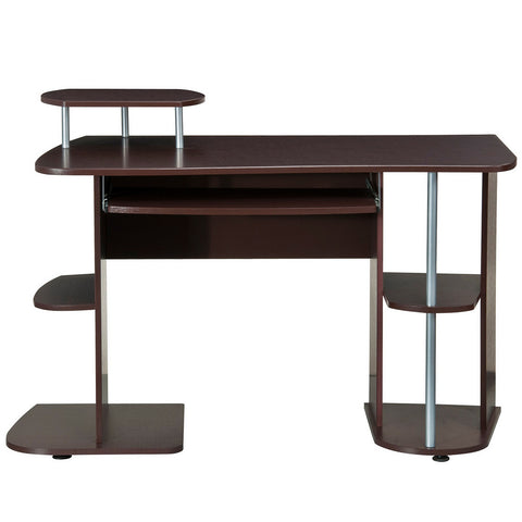 Ergonomic Deluxe Home Office Computer Desk - Chocolate Brown