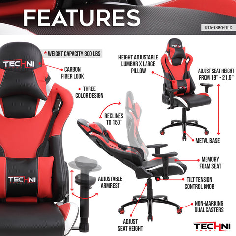 Techni Sport Home Office Racing Style PC Gaming Chair - Red