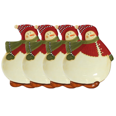 Snowman Delight Collection Hors D' Oeuvre Christmas Dessert Plate (Set of 4)
